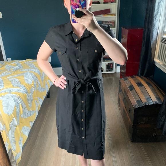 J. McLaughlin 100% Silk Button Down Dress Black 10